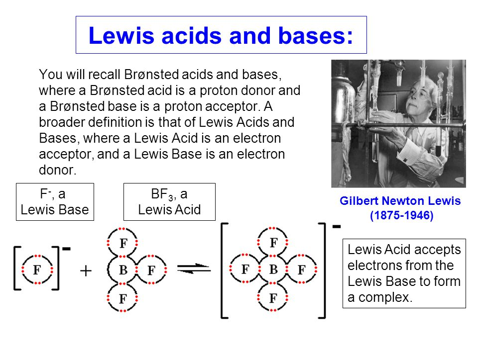 Lewis acids and bases: You will recall Brønsted acids and bases, where a Brønsted acid is a proton donor and a Brønsted base is a proton acceptor. A b