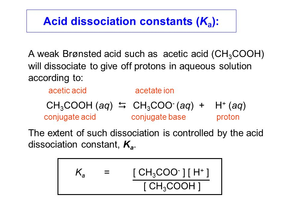 The acid dissociation constant of acetic acid: The value of K a for acetic acid is 10 -4.84, so the pK a is 4.84.