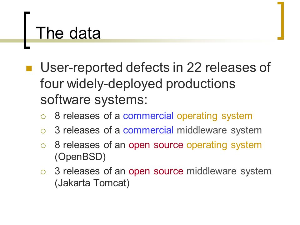 The data User-reported defects in 22 releases of four widely-deployed productions software systems:  8 releases of a commercial operating system  3 releases of a commercial middleware system  8 releases of an open source operating system (OpenBSD)  3 releases of an open source middleware system (Jakarta Tomcat)