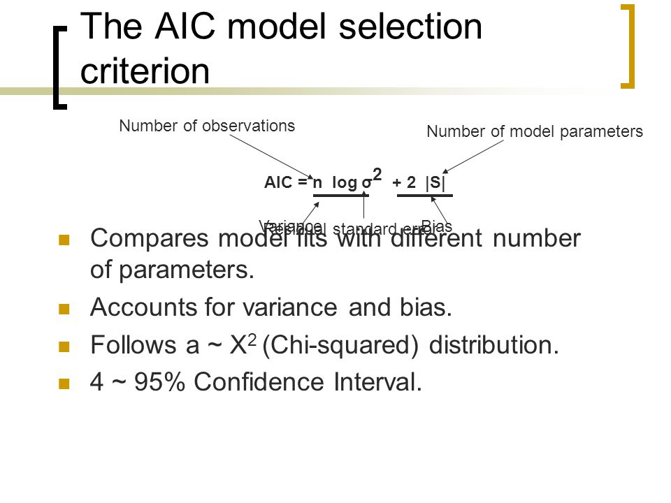 The AIC model selection criterion Compares model fits with different number of parameters.