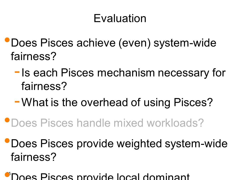 25 Evaluation Does Pisces achieve (even) system-wide fairness.