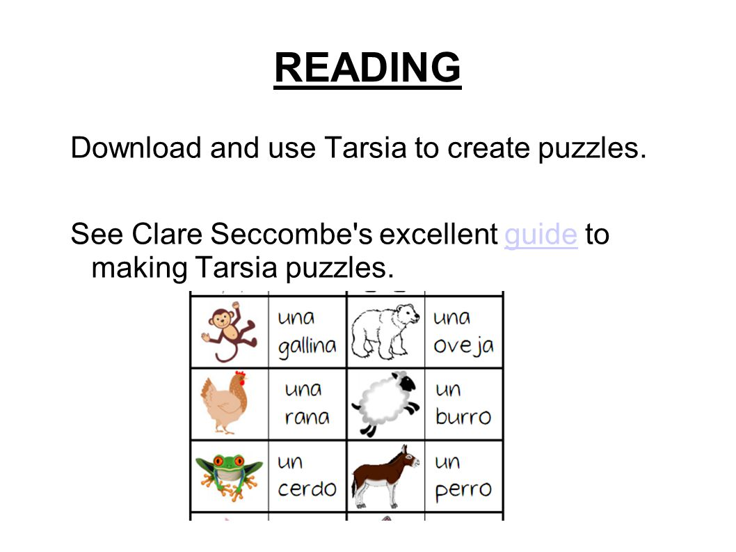 READING Download and use Tarsia to create puzzles.