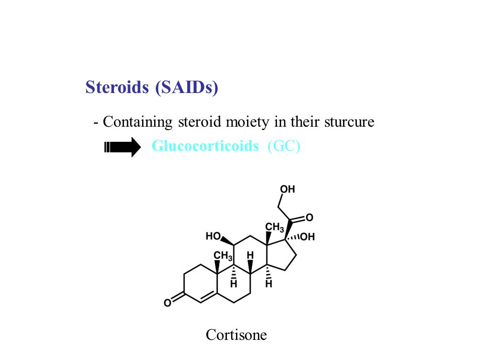 Steroids (SAIDs) - Containing steroid moiety in their sturcure Glucocorticoids (GC) Cortisone