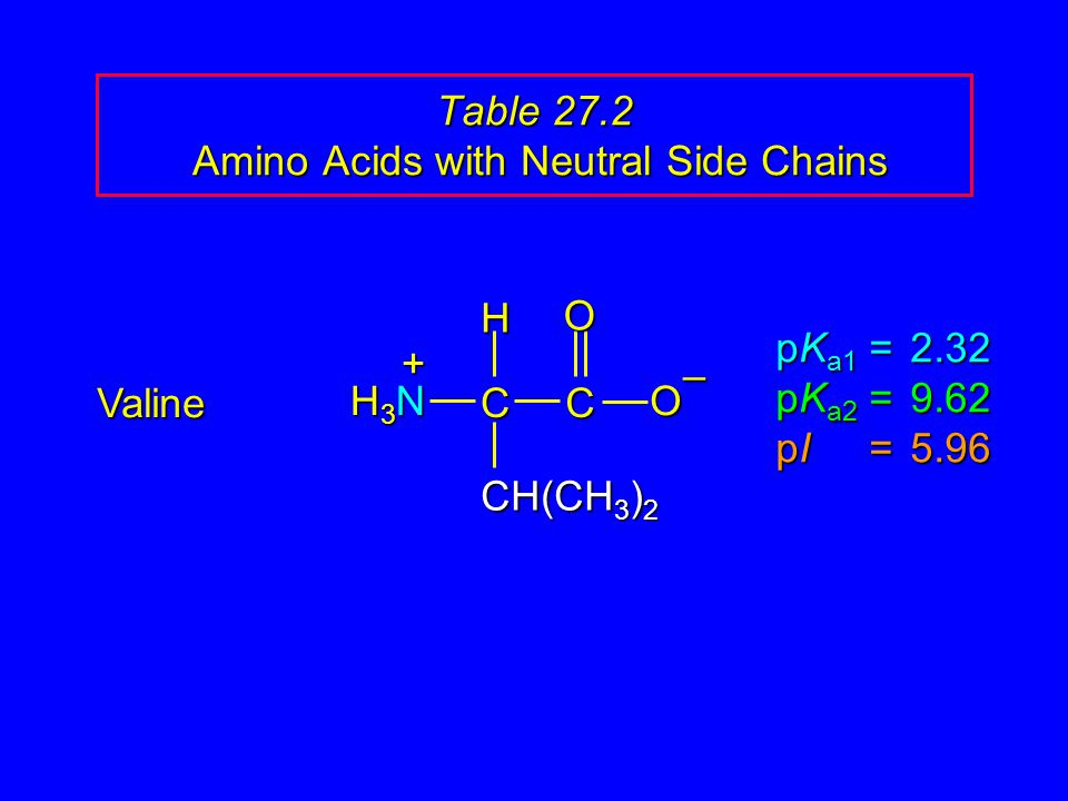 Table 27.2 Amino Acids with Neutral Side Chains Valine pK a1 = 2.32 pK a2 =9.62 pI =5.96 H3NH3NH3NH3N CCOO – CH(CH 3 ) 2 H +