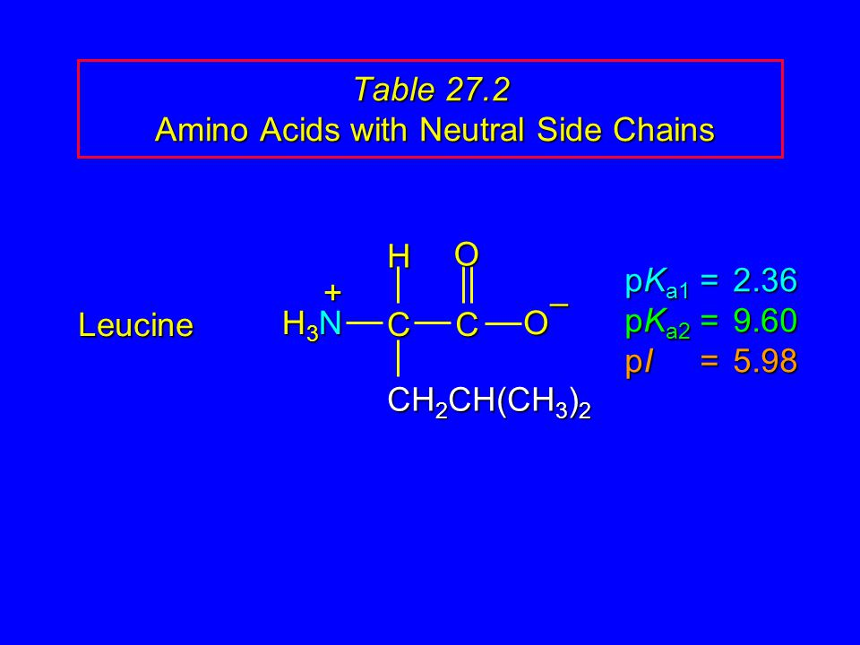 Table 27.2 Amino Acids with Neutral Side Chains Leucine pK a1 = 2.36 pK a2 =9.60 pI =5.98 H3NH3NH3NH3N CCOO – CH 2 CH(CH 3 ) 2 H +