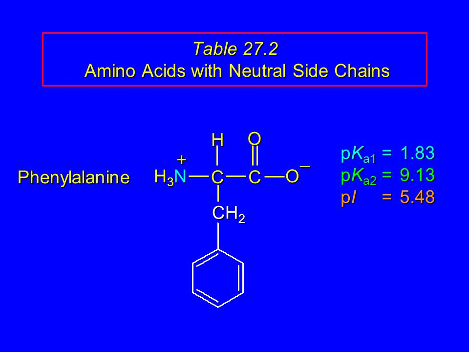 Table 27.2 Amino Acids with Neutral Side Chains Phenylalanine pK a1 = 1.83 pK a2 =9.13 pI =5.48 H3NH3NH3NH3N CCOO – H + CH 2