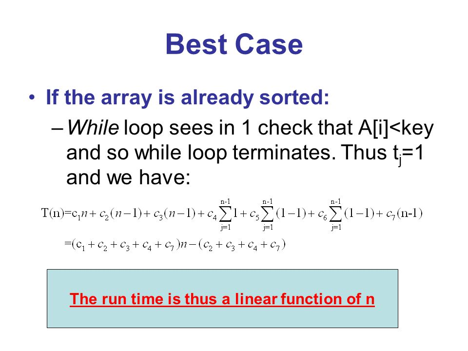Best Case If the array is already sorted: –While loop sees in 1 check that A[i]<key and so while loop terminates.