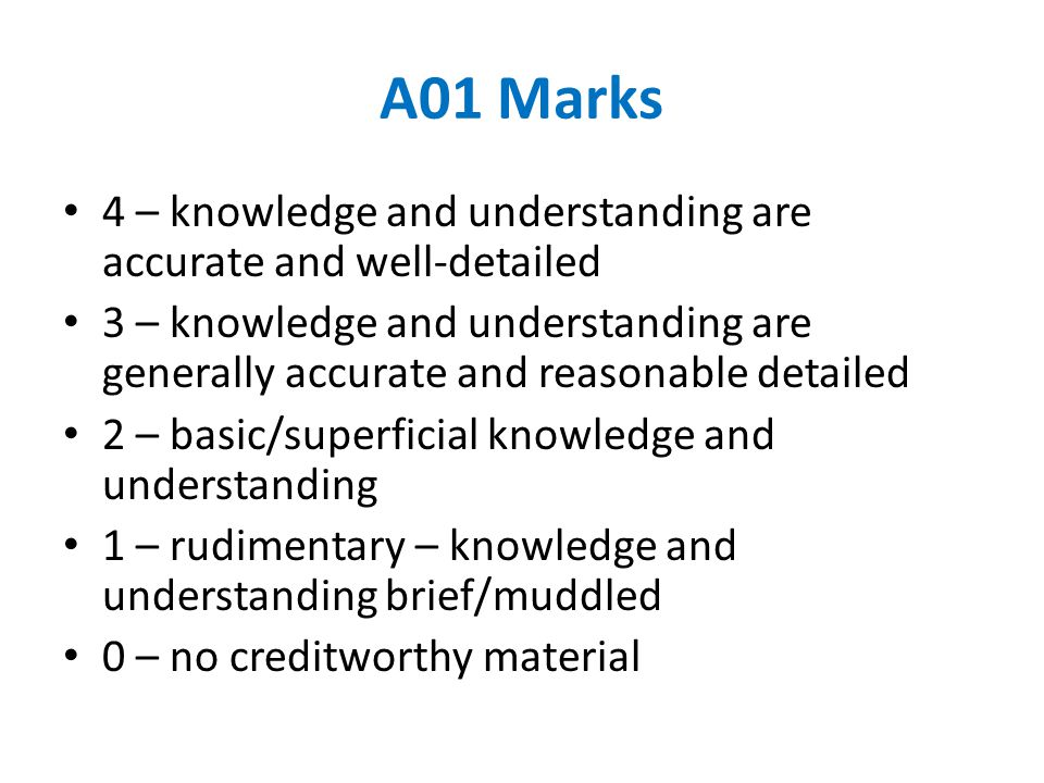 AO2 Evaluation is likely to relate to effectiveness and appropriateness.