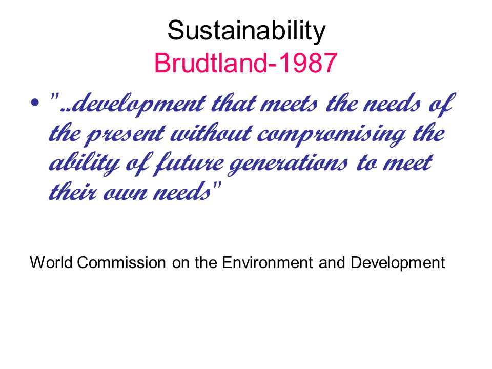 Sustainability Brudtland-1987