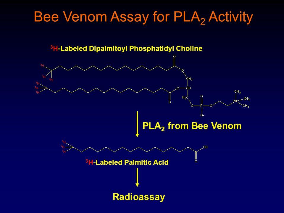 PLA 2 from Bee Venom Radioassay Bee Venom Assay for PLA 2 Activity 3 H-Labeled Dipalmitoyl Phosphatidyl Choline 3 H-Labeled Palmitic Acid