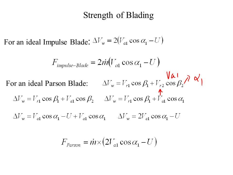 Theory of Parson's Blading V a1 = V r2 α 1 = β 2 approximately U V r1 V a1 V a2 11 11 22 11 V a1 V r1 V r2 V a2