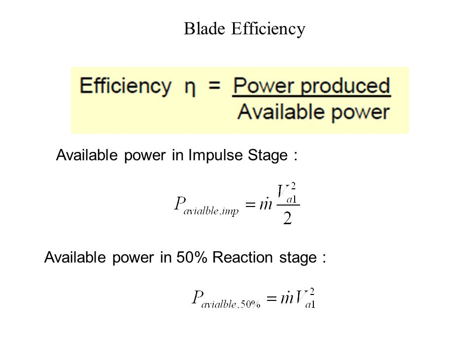 Blade Power Ideal Impulse Stage : Ideal Parson Stage :