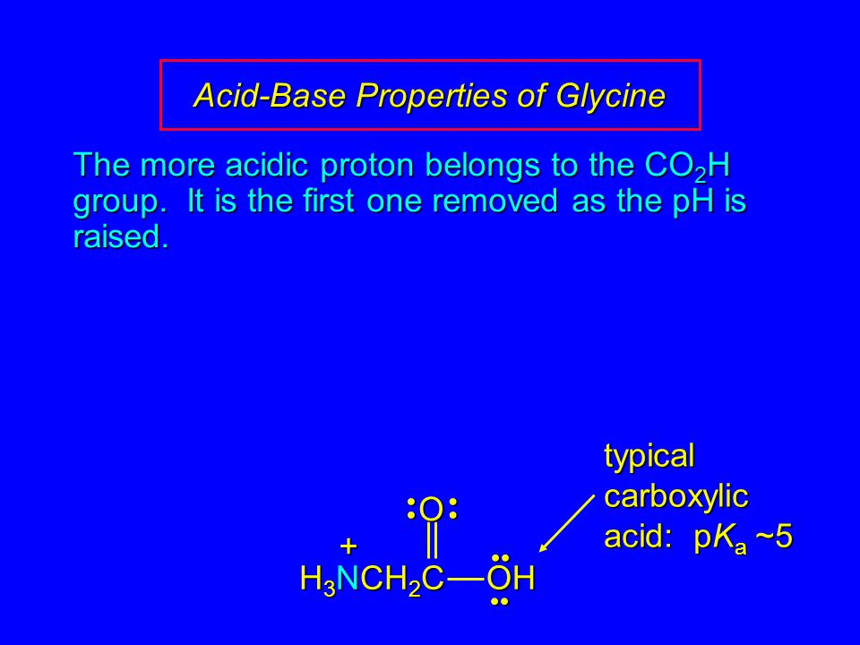 Acid-Base Properties of Glycine The more acidic proton belongs to the CO 2 H group. It is the first one removed as the pH is raised. OOH H 3 NCH 2 C +
