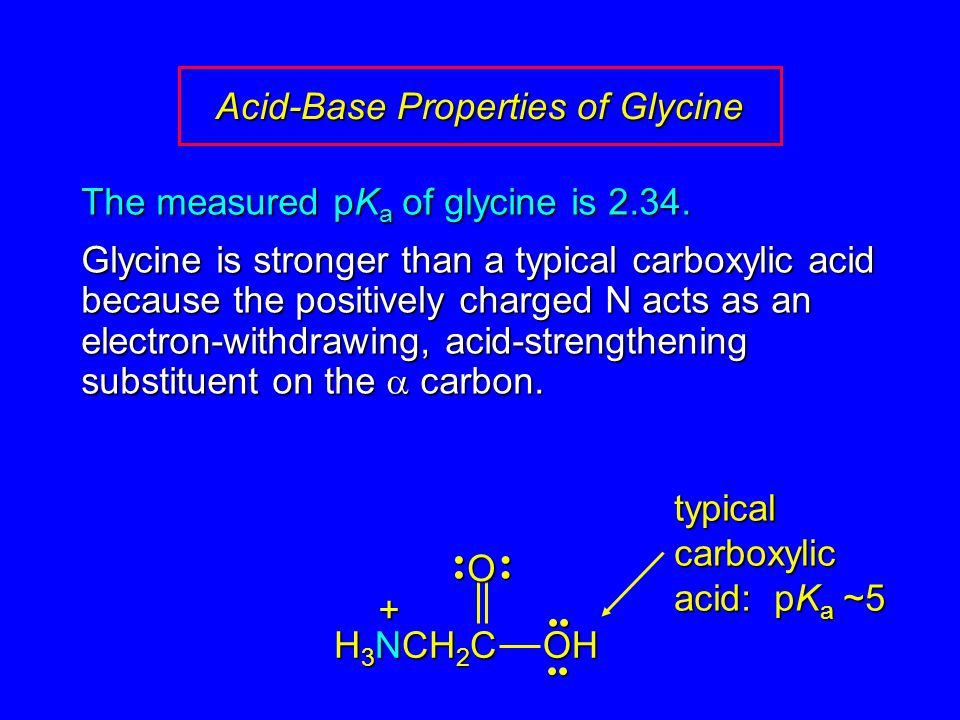 The measured pK a of glycine is 2.34. Glycine is stronger than a typical carboxylic acid because the positively charged N acts as an electron-withdraw