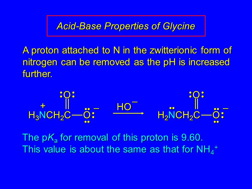 Acid-Base Properties of Glycine – OO H 3 NCH 2 C + The pK a for removal of this proton is 9.60. This value is about the same as that for NH 4 + HO– –
