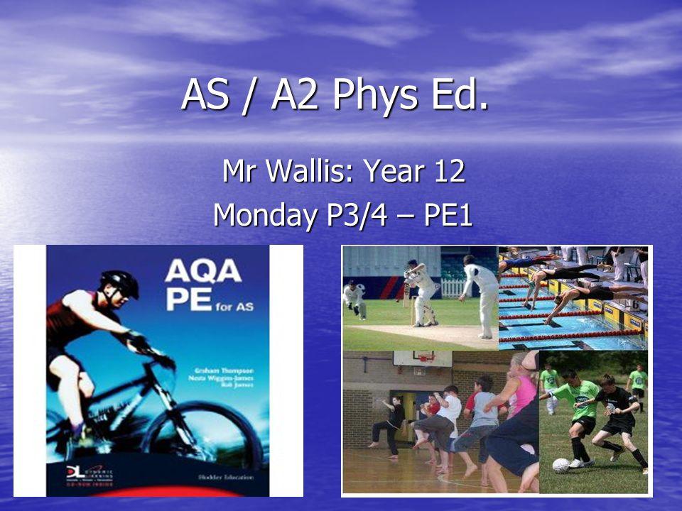 AS / A2 Phys Ed. Mr Wallis: Year 12 Monday P3/4 – PE1