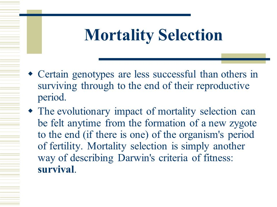 Mortality Selection  Certain genotypes are less successful than others in surviving through to the end of their reproductive period.  The evolutiona