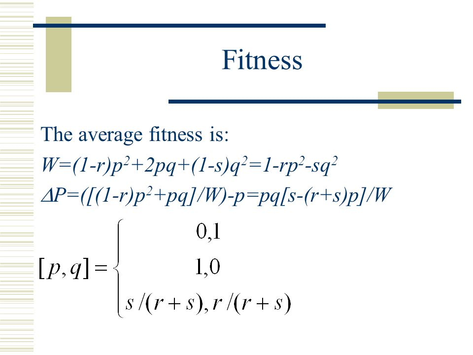 Fitness The average fitness is: W=(1-r)p 2 +2pq+(1-s)q 2 =1-rp 2 -sq 2  P=([(1-r)p 2 +pq]/W)-p=pq[s-(r+s)p]/W