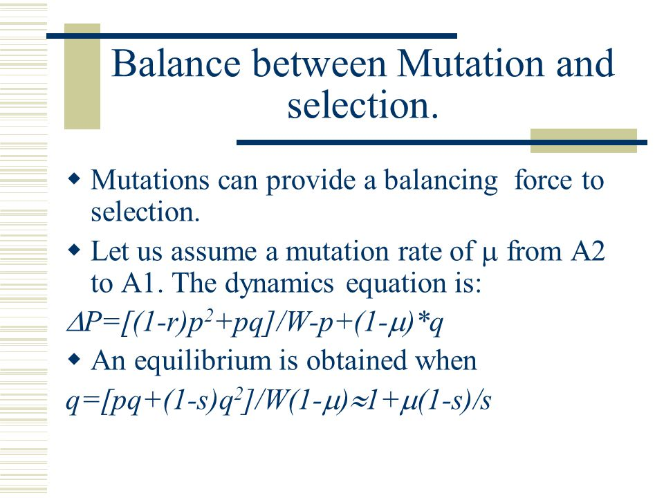 Balance between Mutation and selection.  Mutations can provide a balancing force to selection.  Let us assume a mutation rate of  from A2 to A1. T