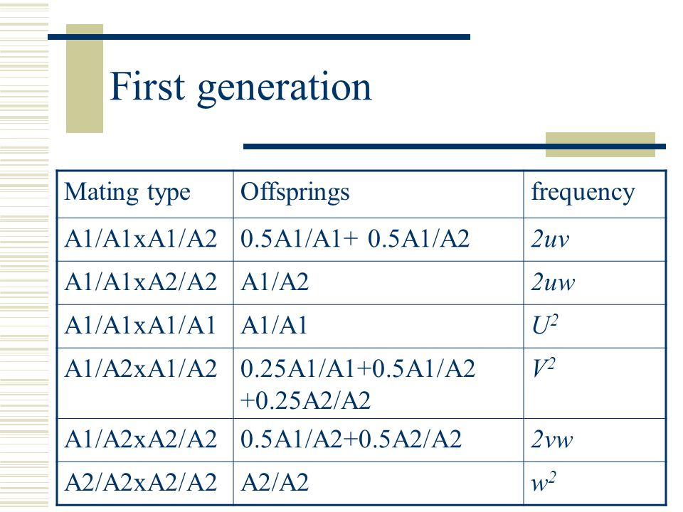 First generation frequencyOffspringsMating type 2uv0.5A1/A1+ 0.5A1/A2A1/A1xA1/A2 2uwA1/A2A1/A1xA2/A2 U2U2 A1/A1A1/A1xA1/A1 V2V2 0.25A1/A1+0.5A1/A2 +0.