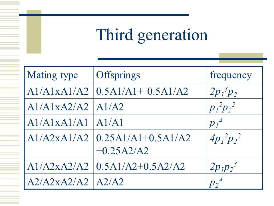 Third generation frequencyOffspringsMating type 2p 1 3 p 2 0.5A1/A1+ 0.5A1/A2A1/A1xA1/A2 p12p22p12p22 A1/A2A1/A1xA2/A2 p14p14 A1/A1A1/A1xA1/A1 4p 1 2