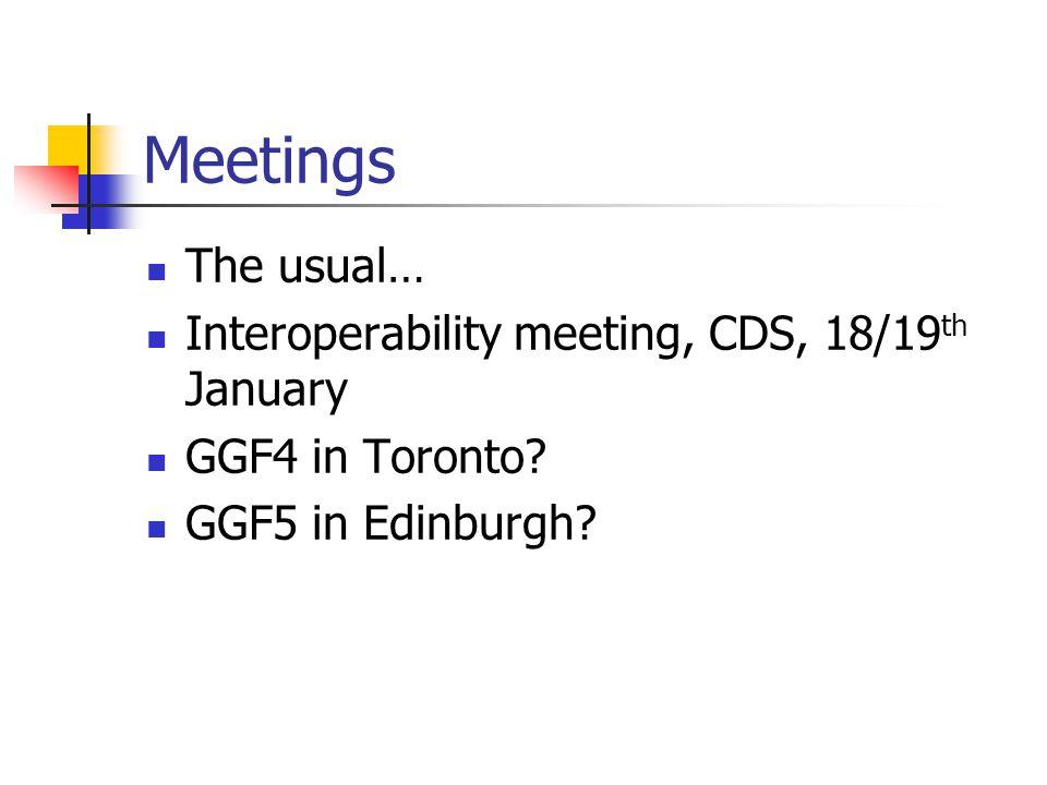 Meetings The usual… Interoperability meeting, CDS, 18/19 th January GGF4 in Toronto? GGF5 in Edinburgh?