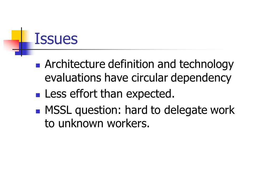 Issues Architecture definition and technology evaluations have circular dependency Less effort than expected.
