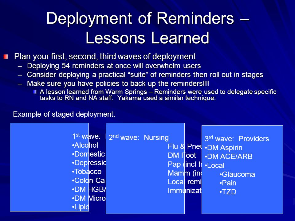 Deployment of Reminders – Lessons Learned Plan your first, second, third waves of deployment –Deploying 54 reminders at once will overwhelm users –Consider deploying a practical suite of reminders then roll out in stages –Make sure you have policies to back up the reminders!!.