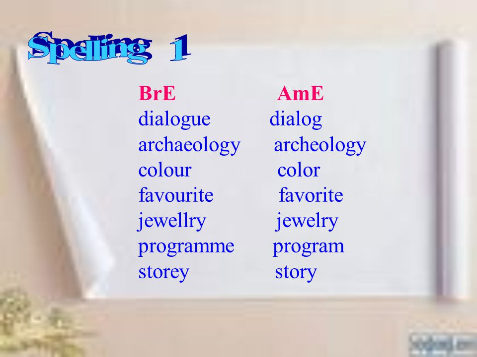 BrE AmE dialogue dialog archaeology archeology colour color favourite favorite jewellry jewelry programme program storey story