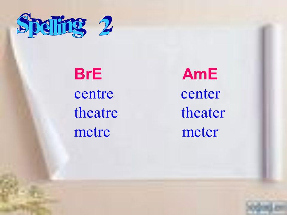 BrE AmE centre center theatre theater metre meter
