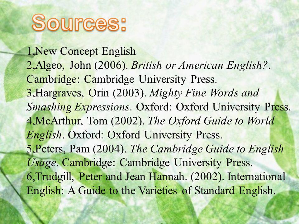 1,New Concept English 2,Algeo, John (2006). British or American English?. Cambridge: Cambridge University Press. 3,Hargraves, Orin (2003). Mighty Fine