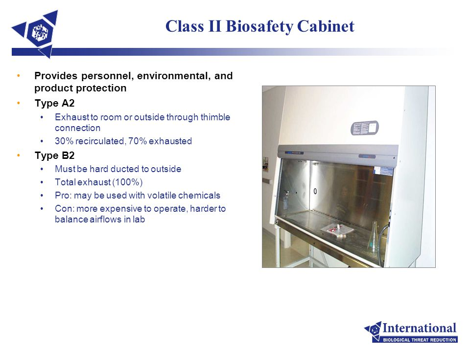 Class II Biosafety Cabinet Provides personnel, environmental, and product protection Type A2 Exhaust to room or outside through thimble connection 30%