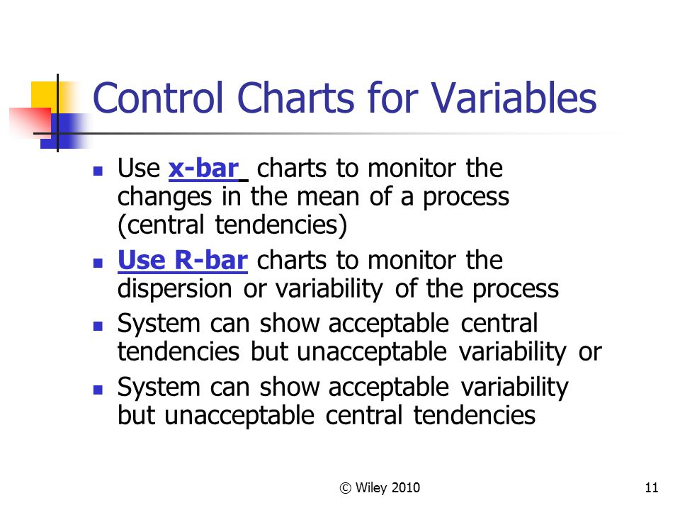 © Wiley 201011 Control Charts for Variables Use x-bar charts to monitor the changes in the mean of a process (central tendencies) Use R-bar charts to