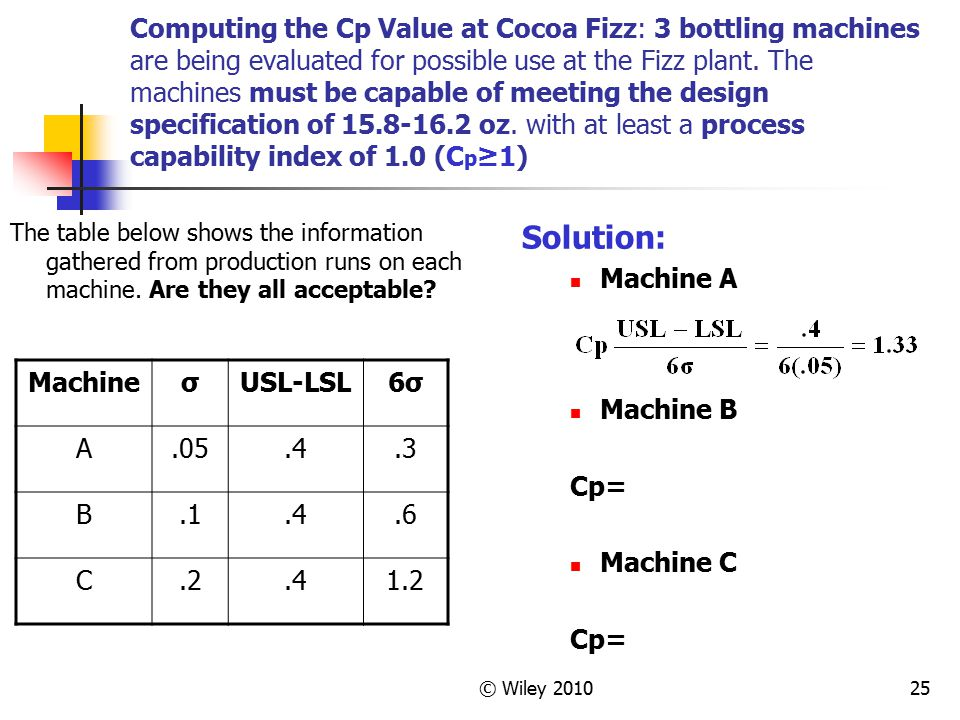 © Wiley 201025 Computing the Cp Value at Cocoa Fizz: 3 bottling machines are being evaluated for possible use at the Fizz plant. The machines must be