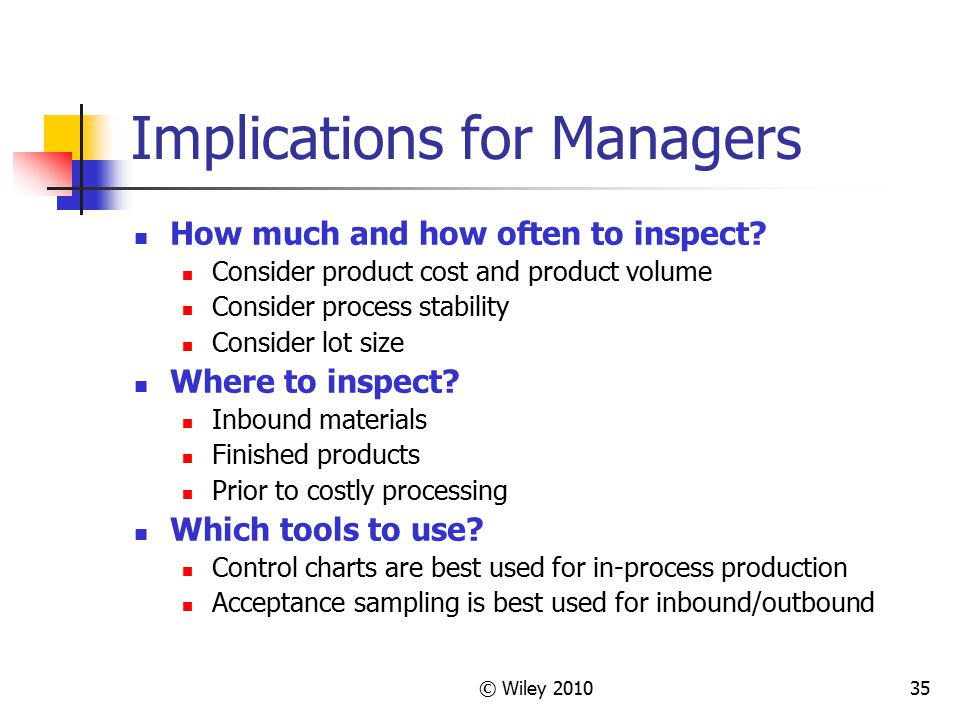 © Wiley 201035 Implications for Managers How much and how often to inspect? Consider product cost and product volume Consider process stability Consid