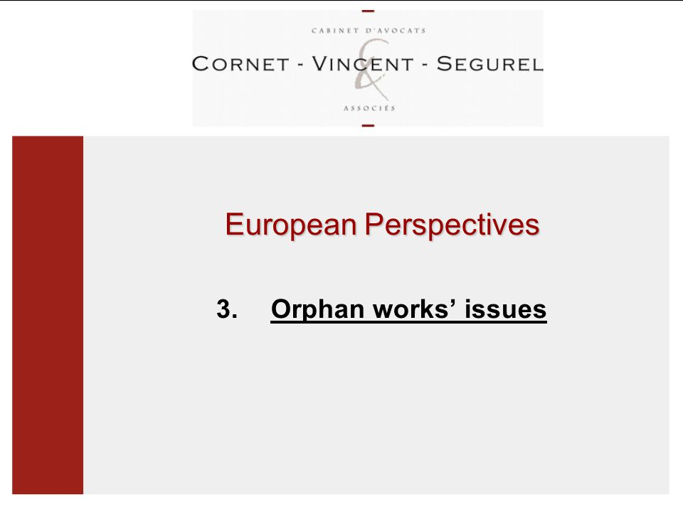 European Perspectives 3. Orphan works' issues