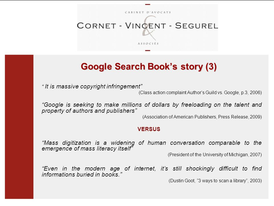 Google Search Book's story (3) It is massive copyright infringement (Class action complaint Author's Guild vs.