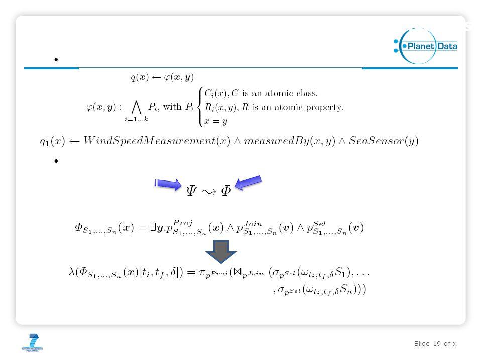 Slide 19 of x 19Red de Ontologías para el Camino de Santiago Query Transformation Semantics Conjunctive Queries Mapping conjuncti ve query expression over streaming sources