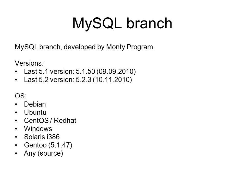 MySQL branch MySQL branch, developed by Monty Program.