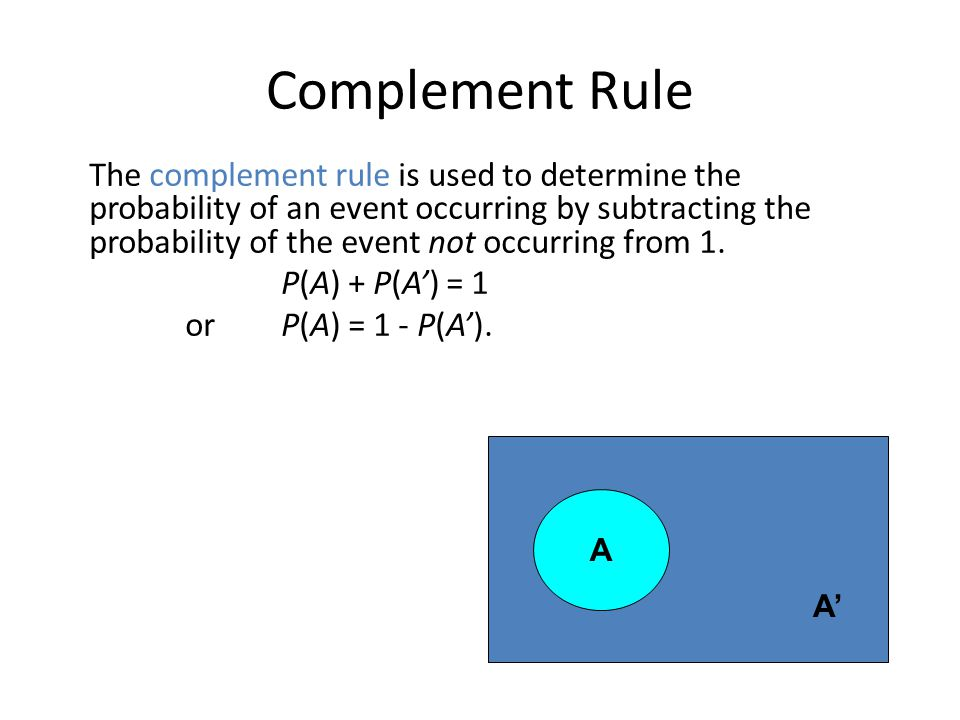 Complement Rule The complement rule is used to determine the probability of an event occurring by subtracting the probability of the event not occurri