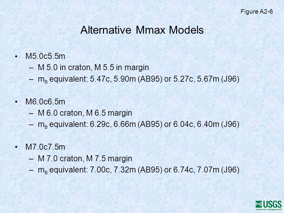 Alternative Mmax Models M5.0c5.5m –M 5.0 in craton, M 5.5 in margin –m b equivalent: 5.47c, 5.90m (AB95) or 5.27c, 5.67m (J96) M6.0c6.5m –M 6.0 craton, M 6.5 margin –m b equivalent: 6.29c, 6.66m (AB95) or 6.04c, 6.40m (J96) M7.0c7.5m –M 7.0 craton, M 7.5 margin –m b equivalent: 7.00c, 7.32m (AB95) or 6.74c, 7.07m (J96) Figure A2-6