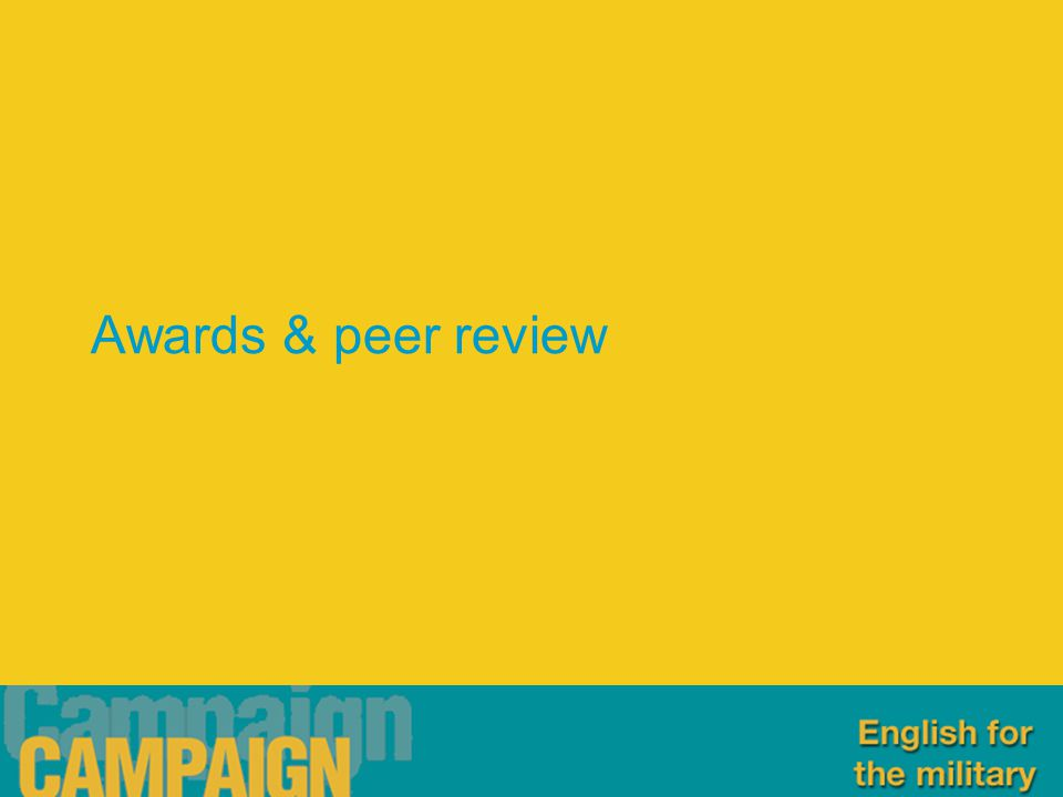 Awards & peer review
