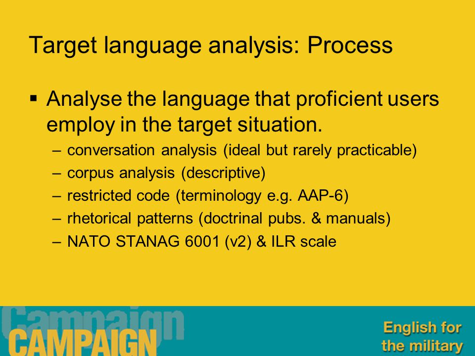 Target language analysis: Process  Analyse the language that proficient users employ in the target situation.