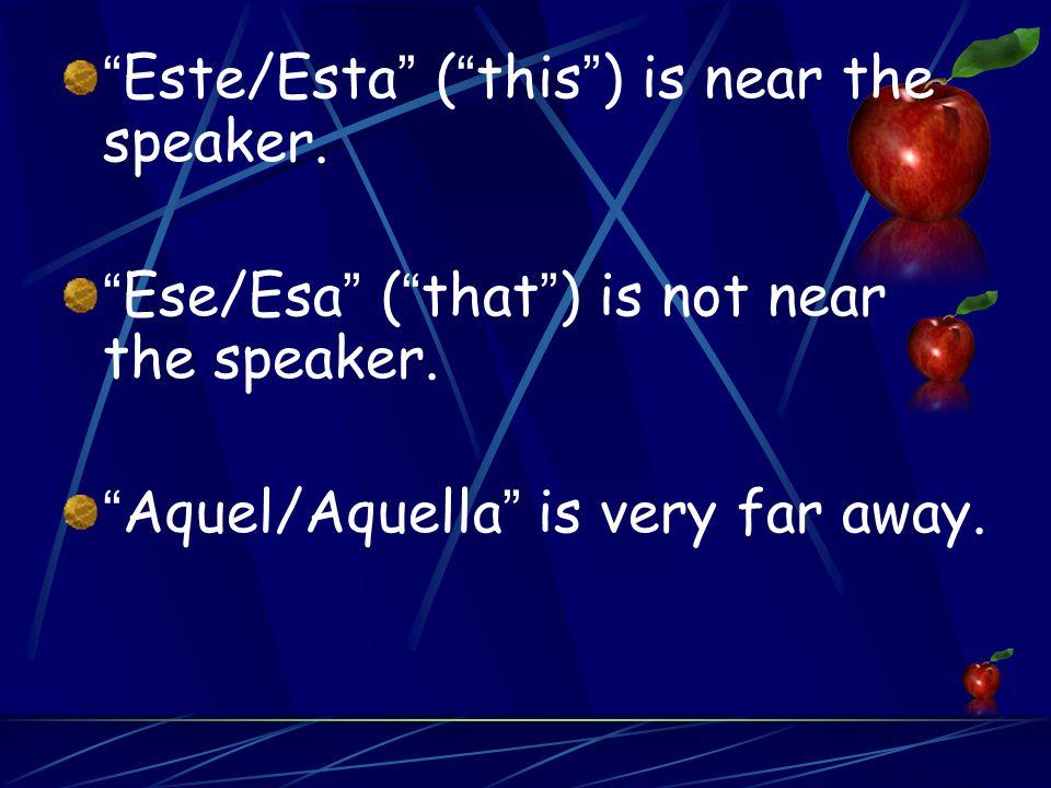 Este/Esta ( this ) is near the speaker. Ese/Esa ( that ) is not near the speaker.