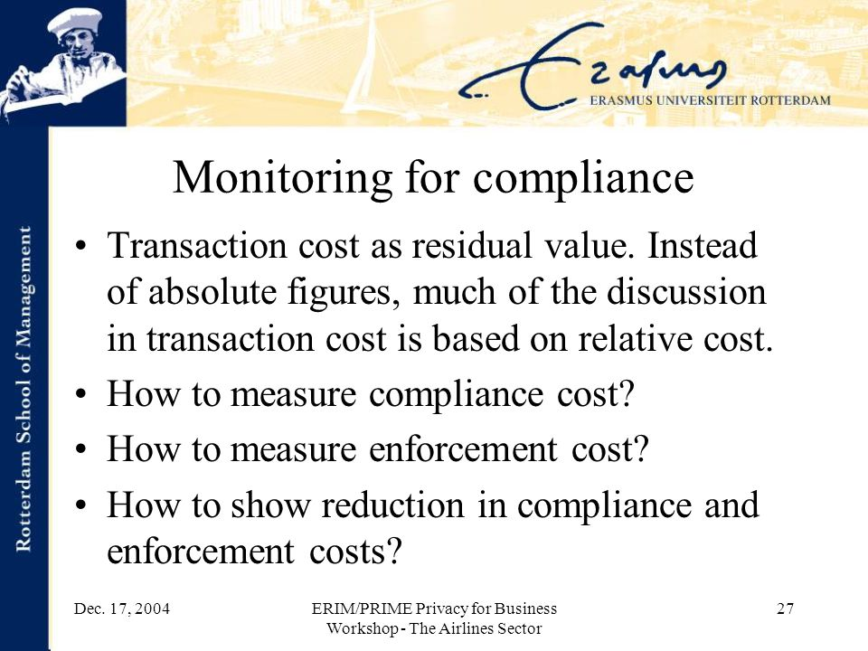Dec. 17, 2004ERIM/PRIME Privacy for Business Workshop - The Airlines Sector 27 Monitoring for compliance Transaction cost as residual value. Instead o