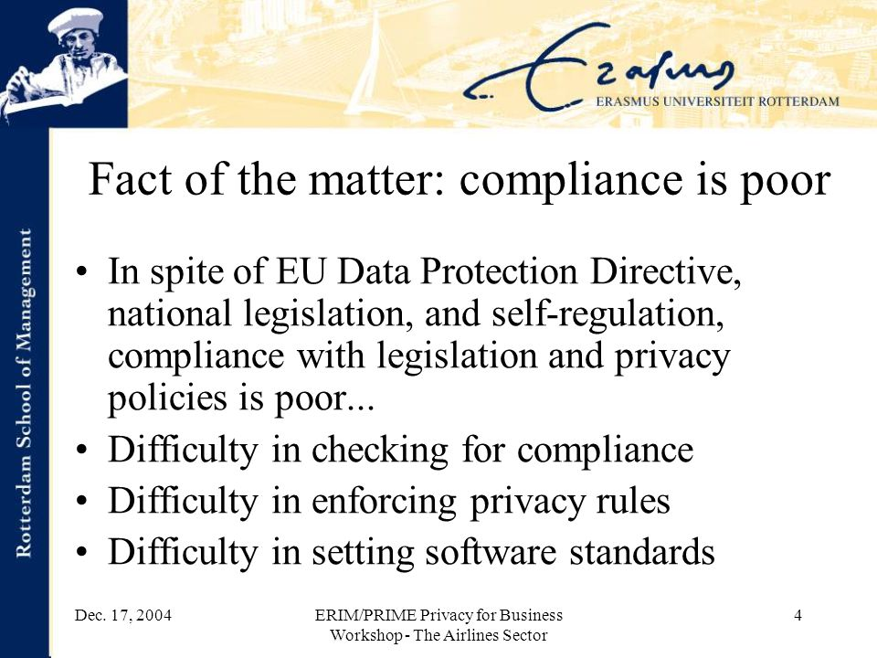 Dec. 17, 2004ERIM/PRIME Privacy for Business Workshop - The Airlines Sector 4 Fact of the matter: compliance is poor In spite of EU Data Protection Di