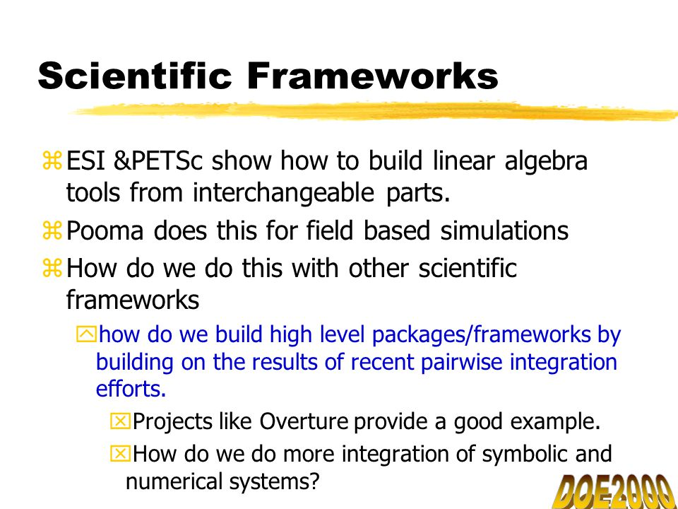 Scientific Frameworks zESI &PETSc show how to build linear algebra tools from interchangeable parts.