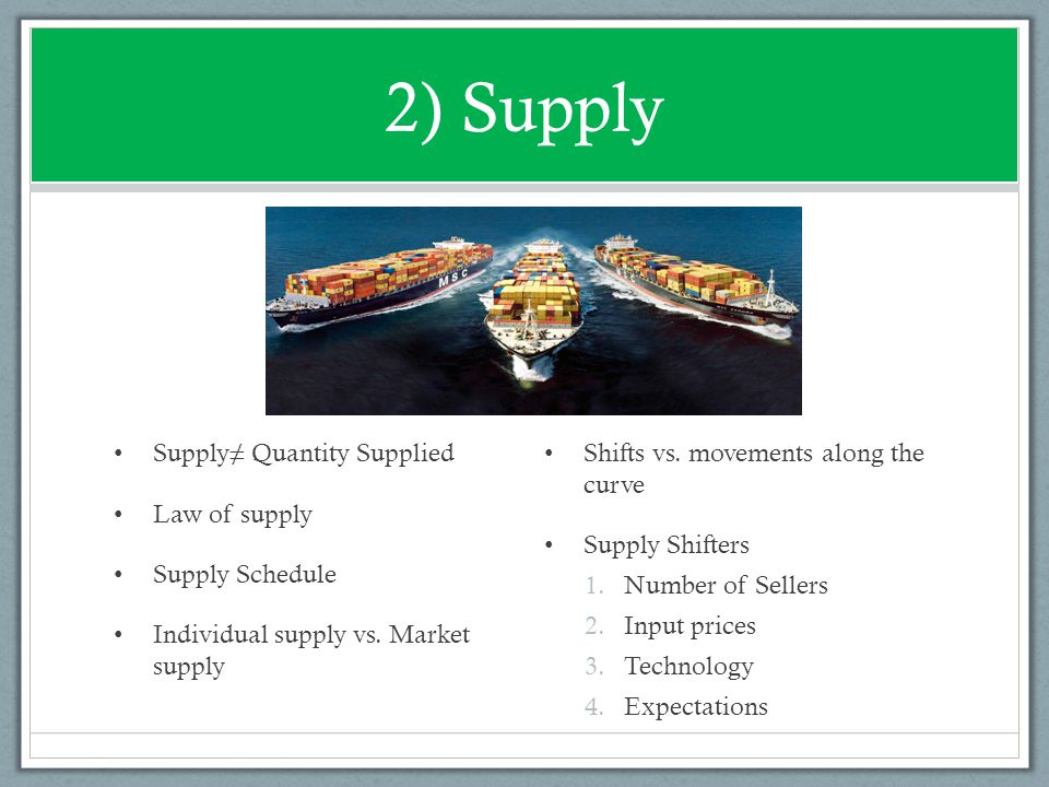 2) Supply Supply≠ Quantity Supplied Law of supply Supply Schedule Individual supply vs. Market supply Shifts vs. movements along the curve Supply Shif
