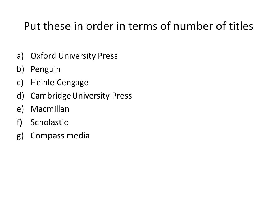 Put these in order in terms of number of titles a)Oxford University Press b)Penguin c)Heinle Cengage d)CambridgeUniversity Press e)Macmillan f)Scholastic g)Compass media