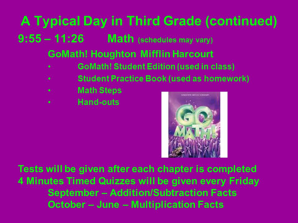 A Typical Day in Third Grade (continued) 9:55 – 11:26Math (schedules may vary) GoMath.